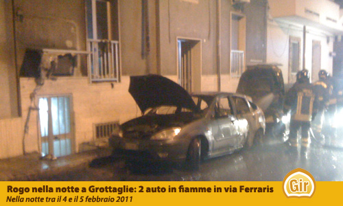 Auto incendiate a Grottaglie